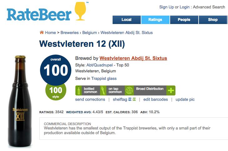 La bière trappiste Westvleteren 12 (XII), la meilleure du monde selon le site RateBeer.com