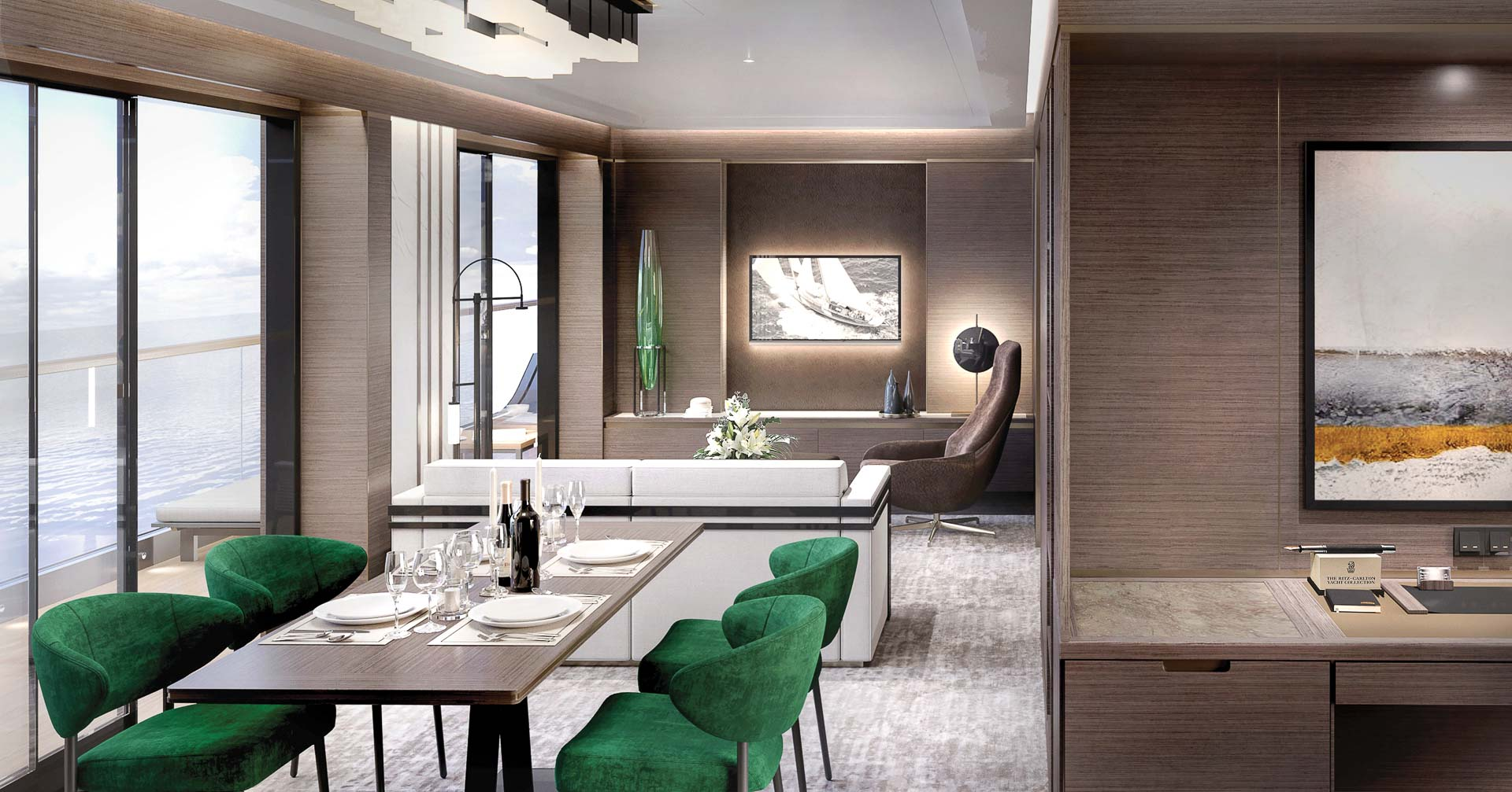 The Ritz-Carlton Yacht Collection -The Grand Suite Living Area