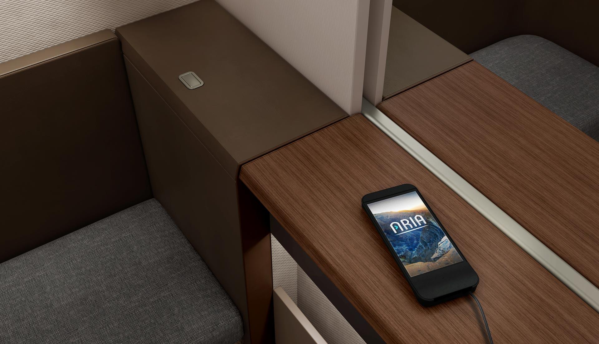 Oman Air - Mini Suite First Class - Prises électriques