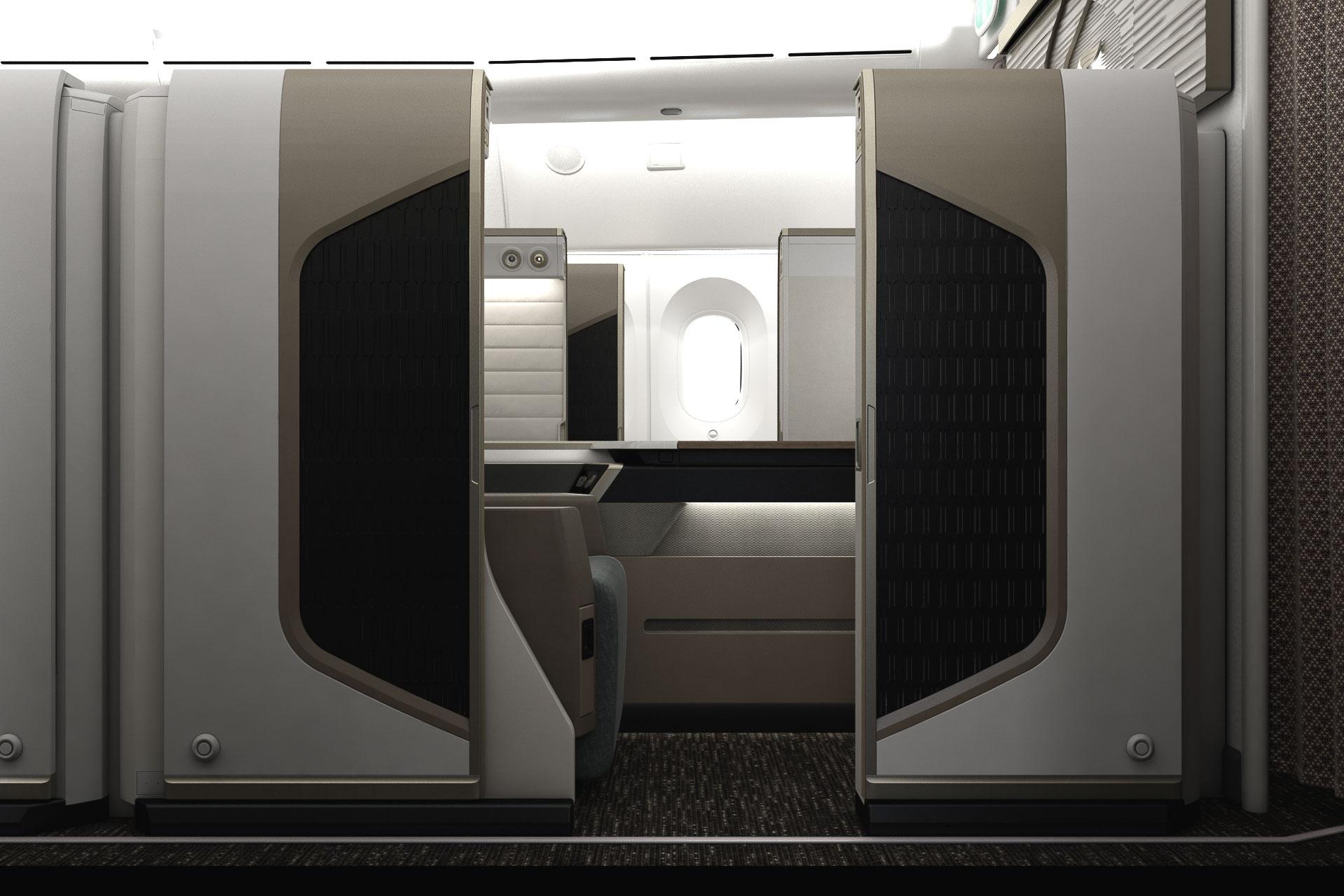 Oman Air - Mini Suite First Class - Vue de profil du siège
