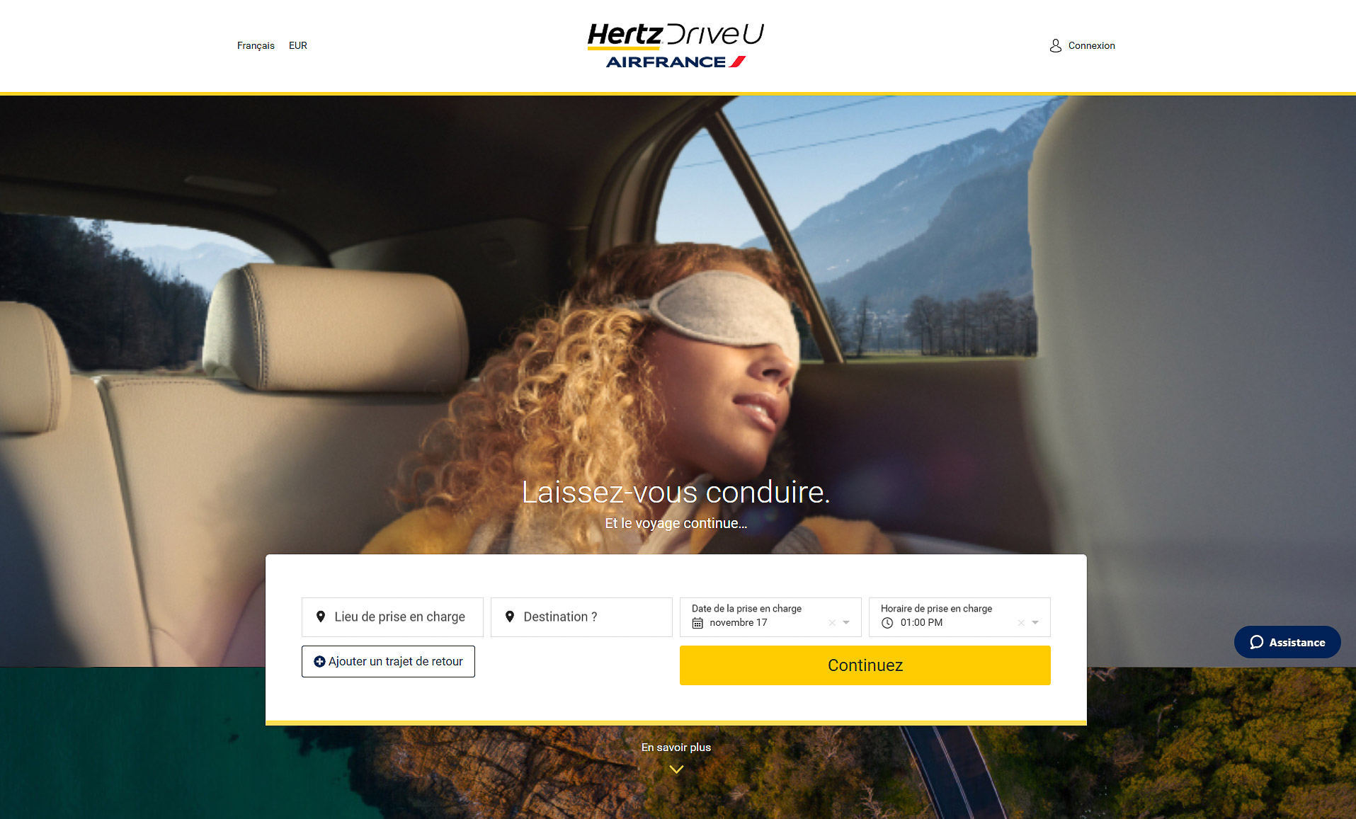 Air France Hertz DriveU - Capture d'écran du site