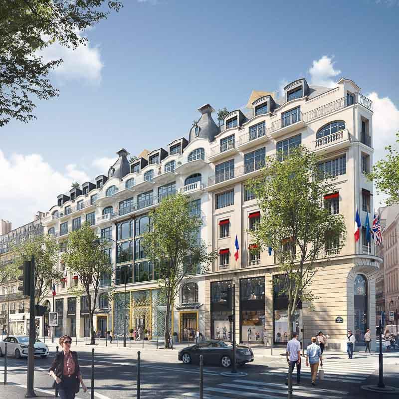 La façade du Kimpton St Honoré Paris boulevard des Capucines © DR