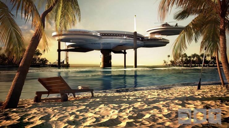 Water Discus Hotel Dubai - La partie émergée de l'hôtel vue depuis la plage