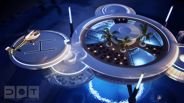 Water Discus Hotel Dubai - Vue aérienne de l'hôtel avec sa plateforme pour hélicoptère