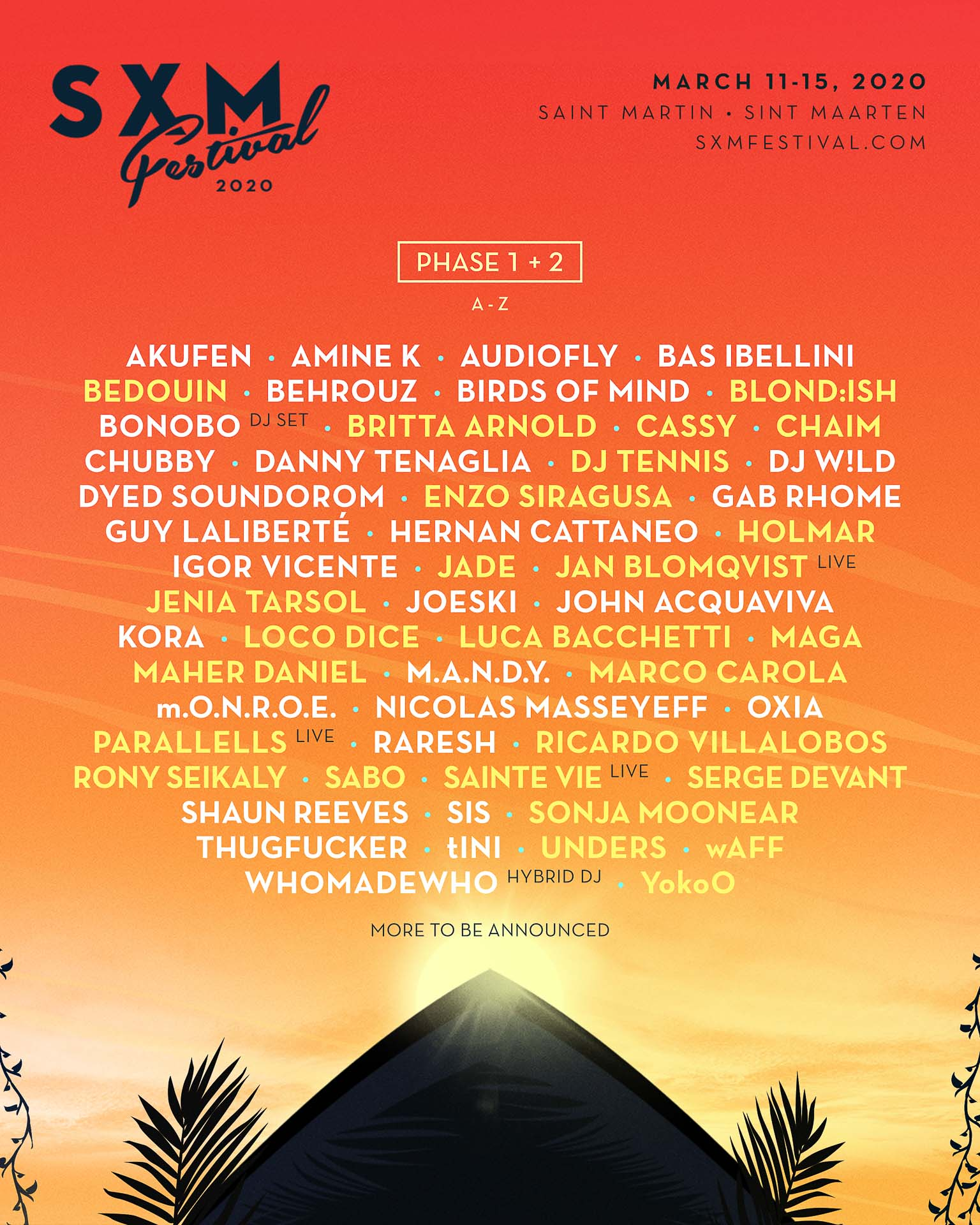 SXM Festival – Line up 2020 © DR