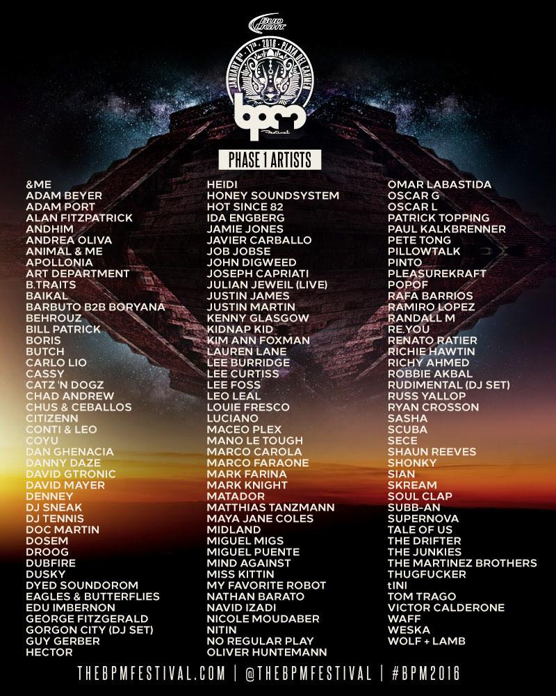 BPM Festival 2016 - Line up Phase 1