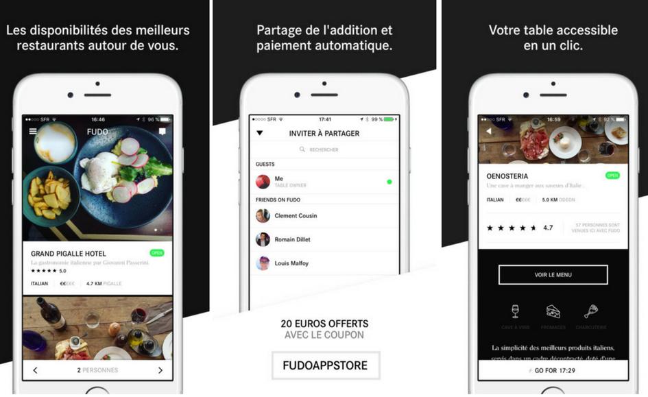 Fudo est une nouvelle application mobile permettant de réserver instantanément sa table dans les restaurants les plus cotés autour de soi et de régler l'addition en un clin d'œil.