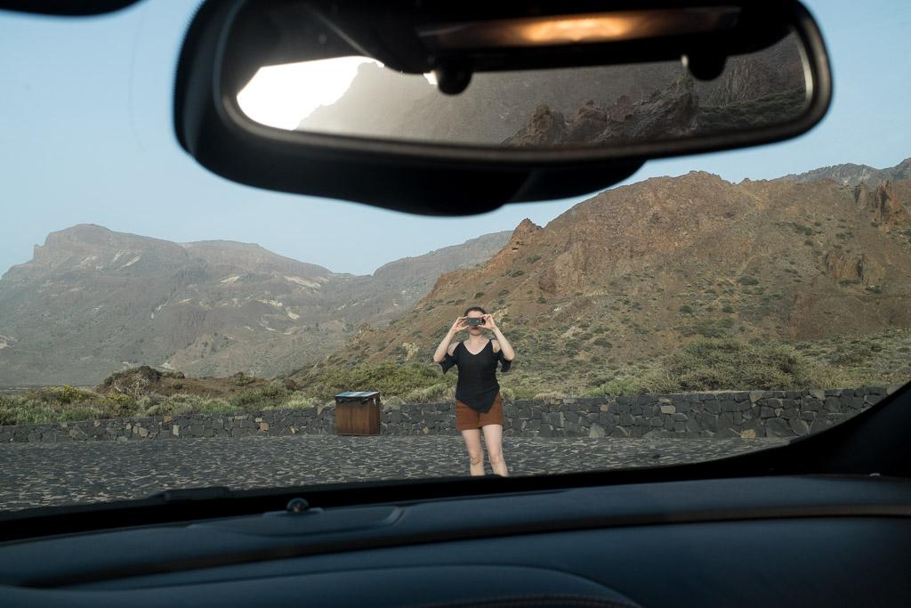 Parking le long de la TF21, non loin de la plaine de l'Ucanca. Parc du Teide. Tenerife.
