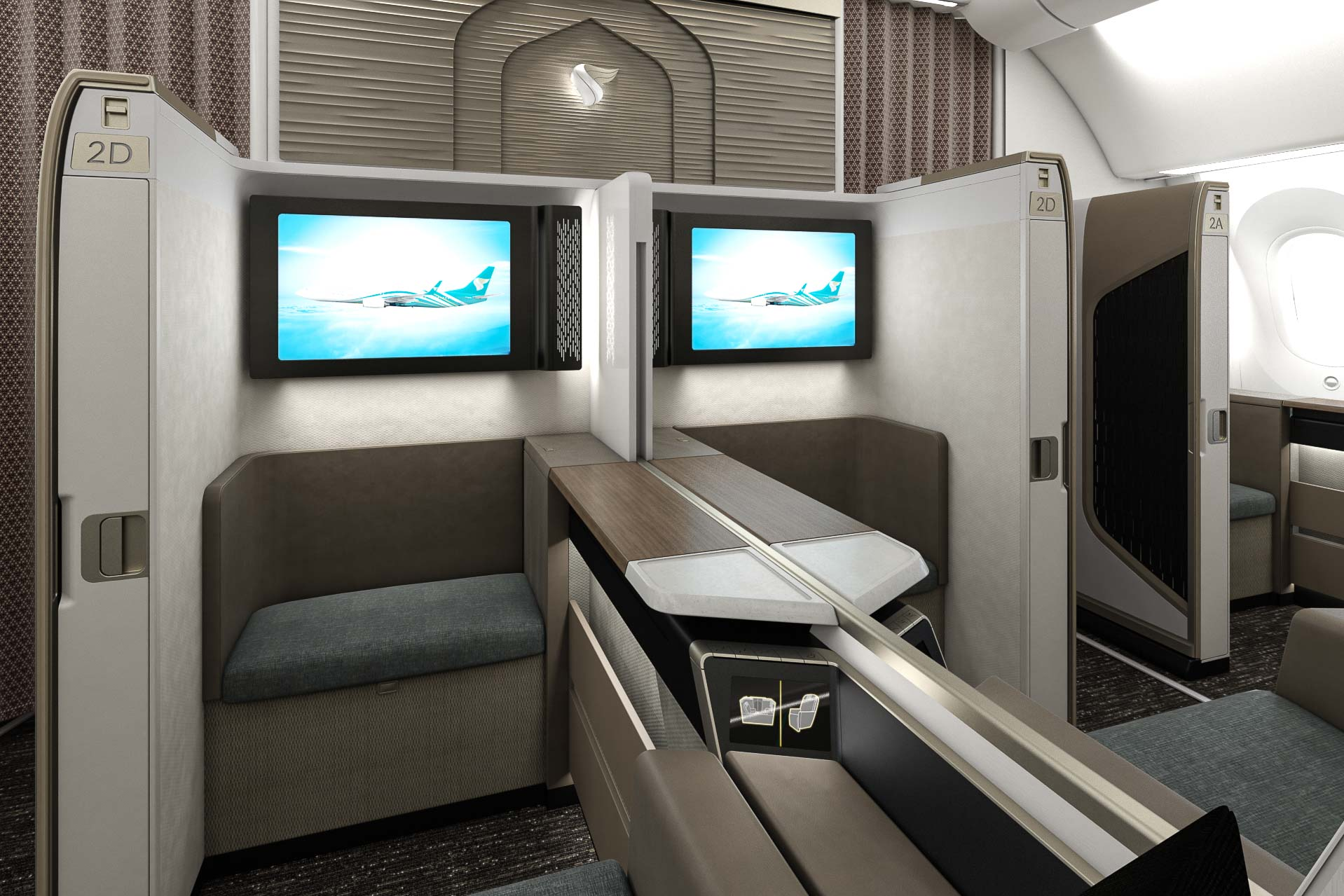 """À bord de la nouvelle """"Mini Suite First Class"""" de la compagnie Oman Air © DR"""