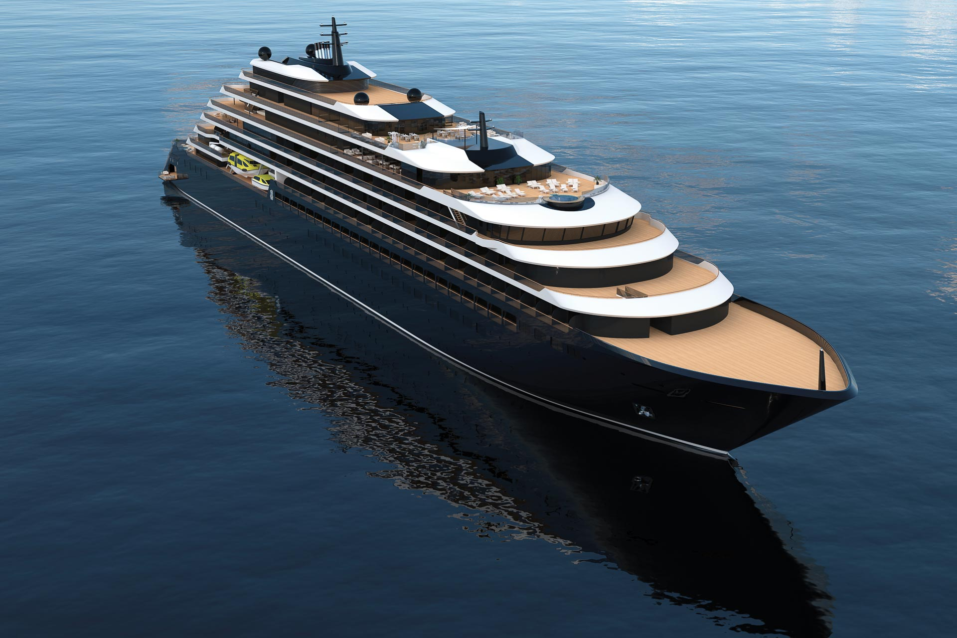 Un aperçu (rendu 3D) du premier navire de The Ritz-Carlton Yacht Collection © Ritz-Carlton
