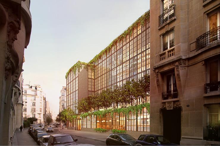 La future façade de l'hôtel imaginé par Starck pour le groupe Evok rue de la Pompe dans le 16ème arrondissement à Paris
