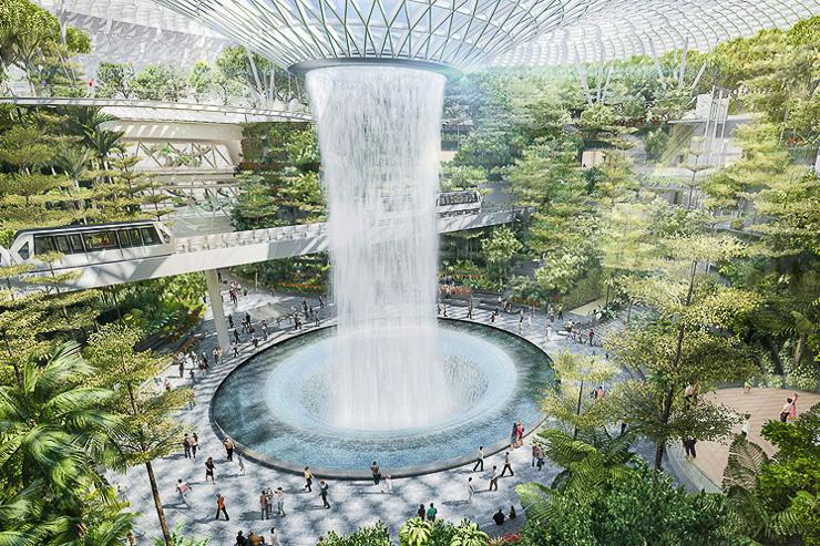 Une cascade de 40 mètres au centre de l'édifice: Moshe Safdie a vu les choses en grand