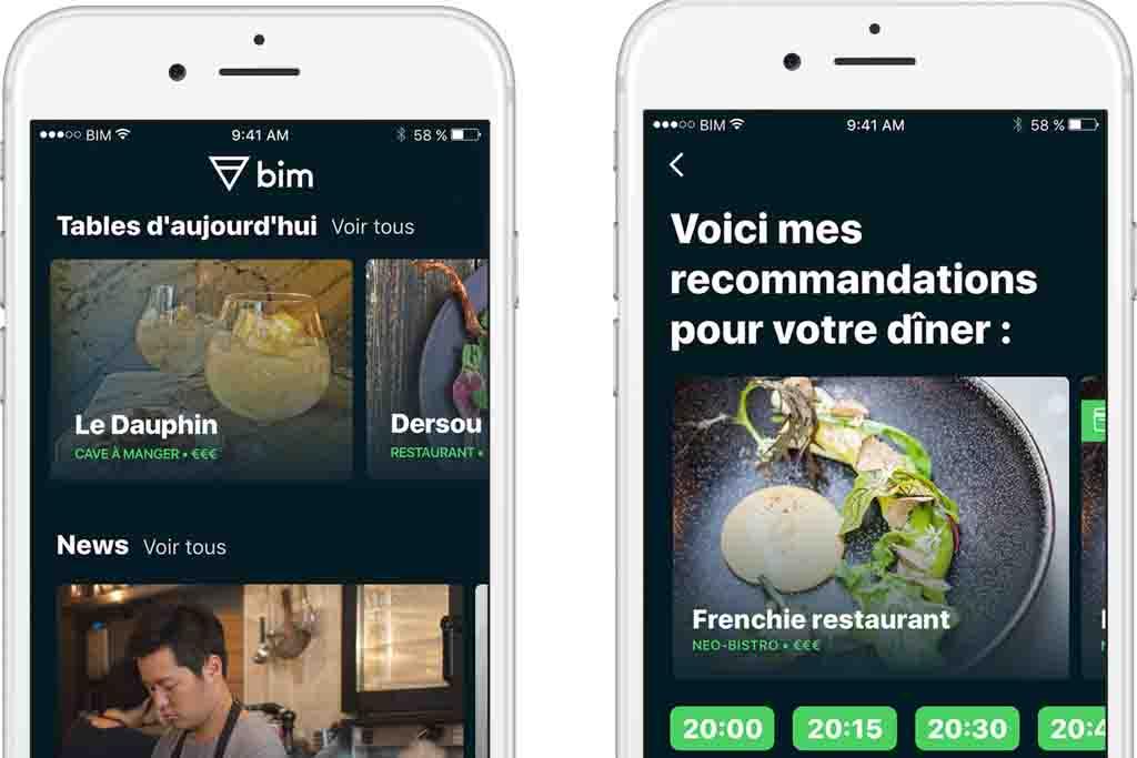 L'application Bim permet de réserver des tables réputées à Paris, Lyon et Bordeaux. © DR