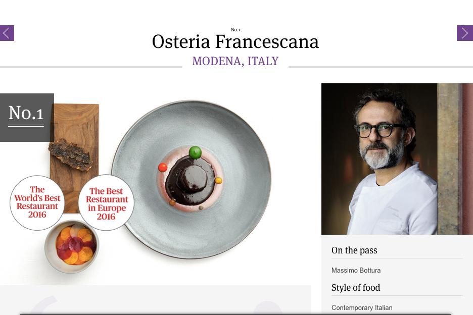 Worlds 50 Best - Osteria Francescana meilleur restaurant du monde 2016