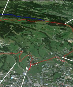 Itinéraire de la randonnée en VTT. | © Google/Digital Globe/Landsat