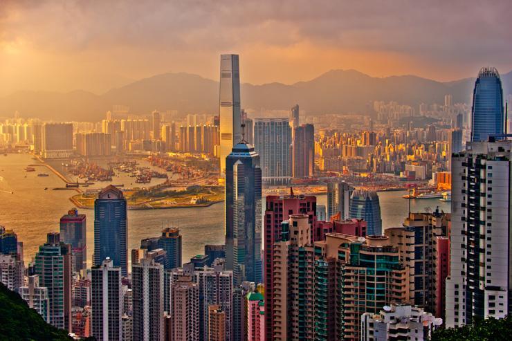 Vue panoramique de Hong Kong depuis les hauteurs de Hong Kong Island