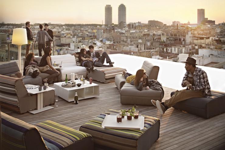 Skybar - Grand Hotel Central - Aménagement façon lounge