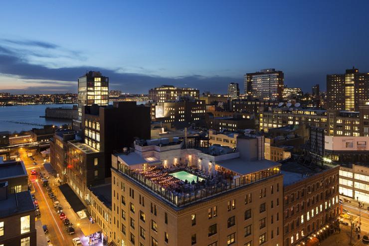 Soho House New York - Vue aérienne de l'hôtel et son rooftop