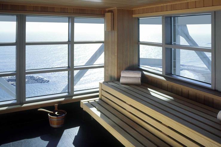 The 43 Spa -  Hotel Arts Barcelona - Sauna avec vue sur la Méditerrannée