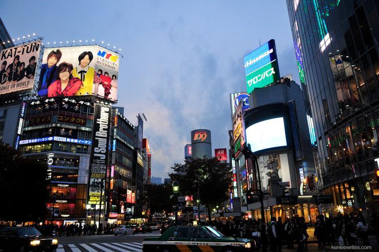 Shibuya 109 vu depuis le fameux Shibuya Crossing