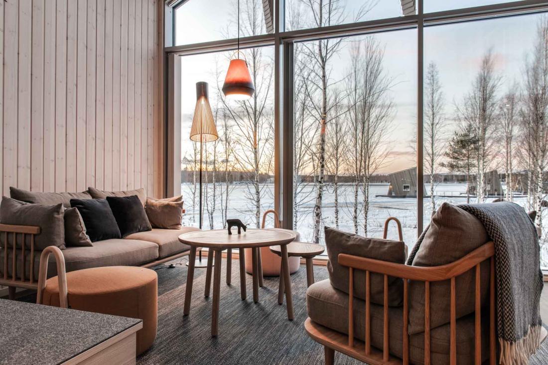 Les 3 Suite Cabins pour deux personnes, ouvertes sur l'extérieur et meublée dans un style scandinave