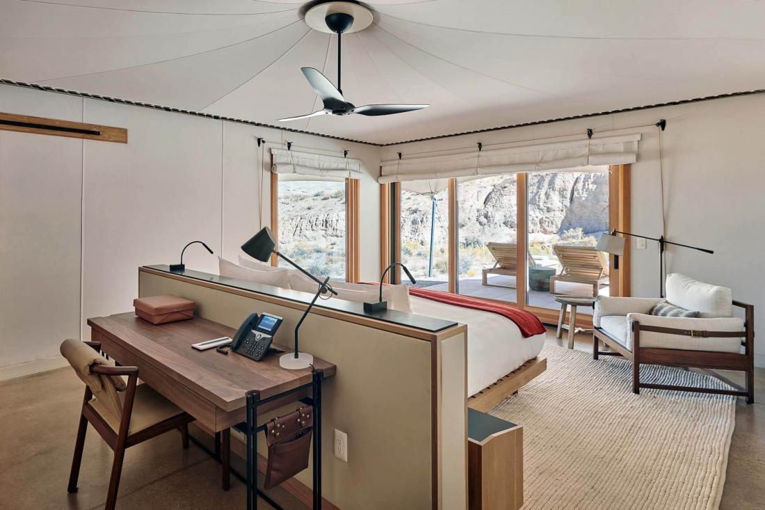 Les 5 tentes à une chambre mesurent 175 m2, tandis que les pavillons deux chambres s'étendent sur 262 m2