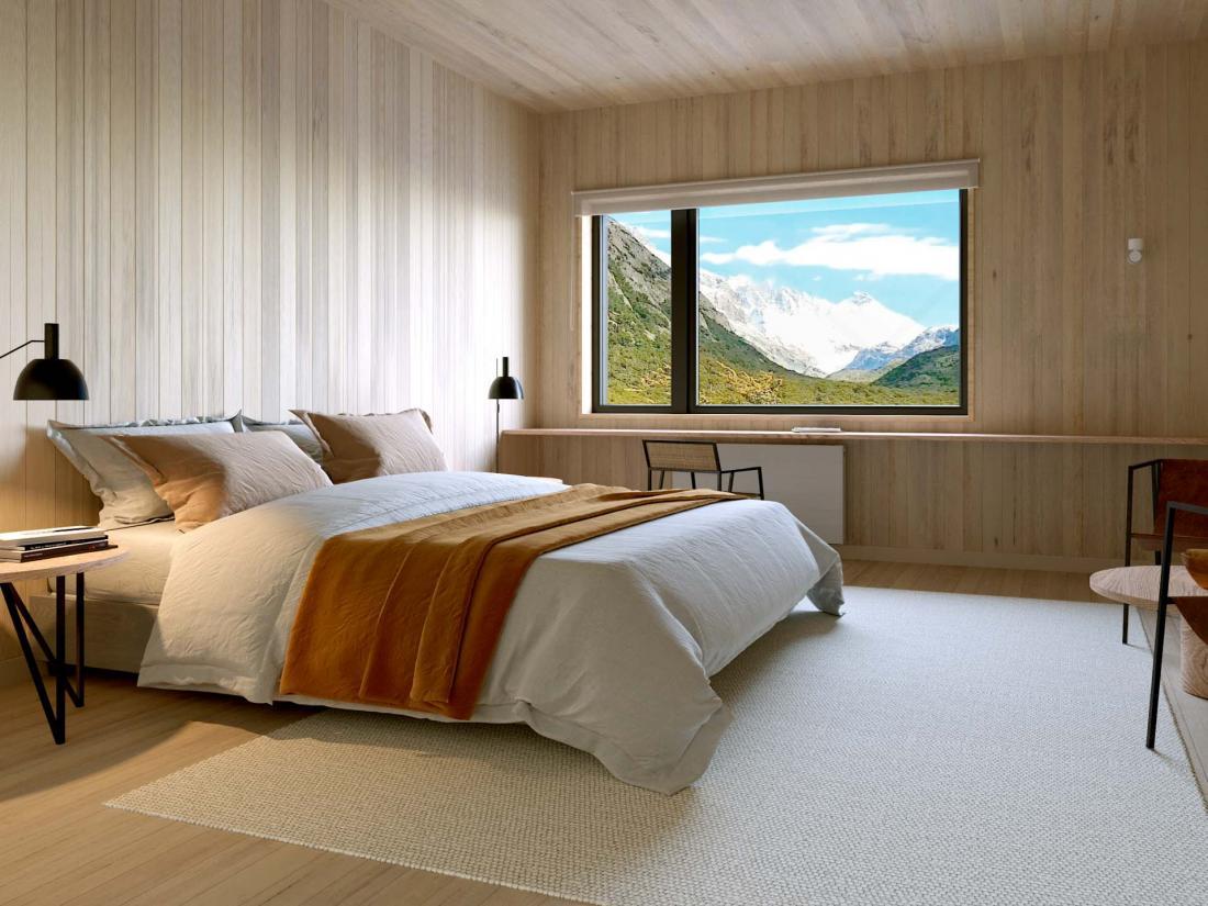 L'hôtel compte 17 chambres standard de 32 mètres carrés en vis à vis avec la nature
