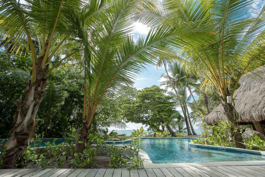 La piscine privée de la villa, nichée au cœur de la palmeraie, est une invitation à la détente et au lâcher prise