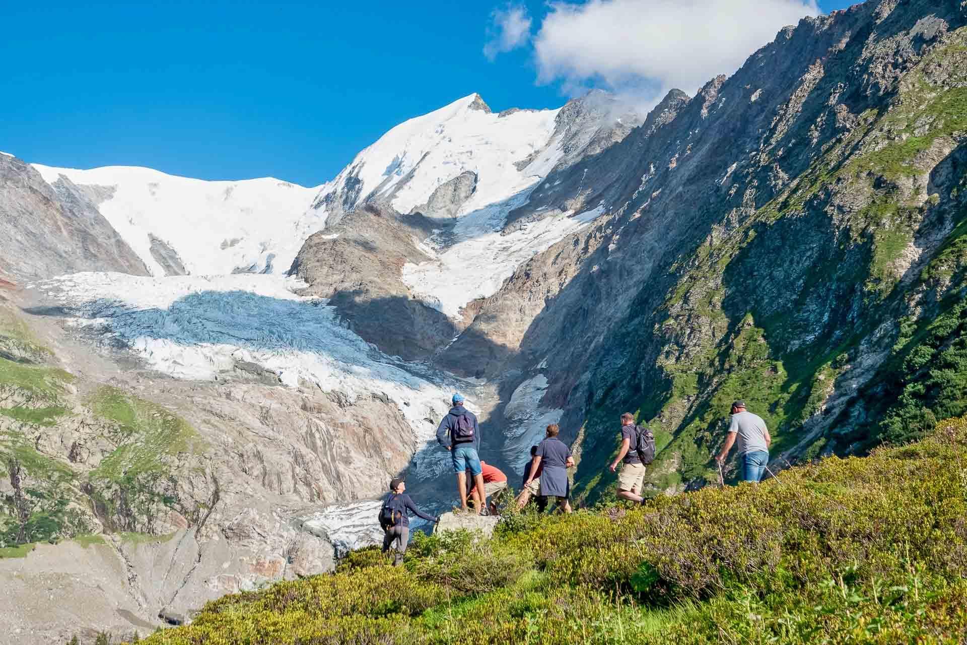 Vue sur le glacier de Miage depuis la randonnée du tour du col du Tricot © Boris Molinier
