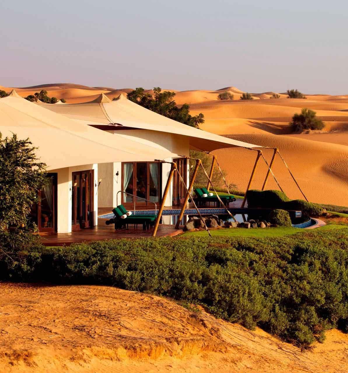 Suite en plein désert au Al Maha Desert Resort © DR