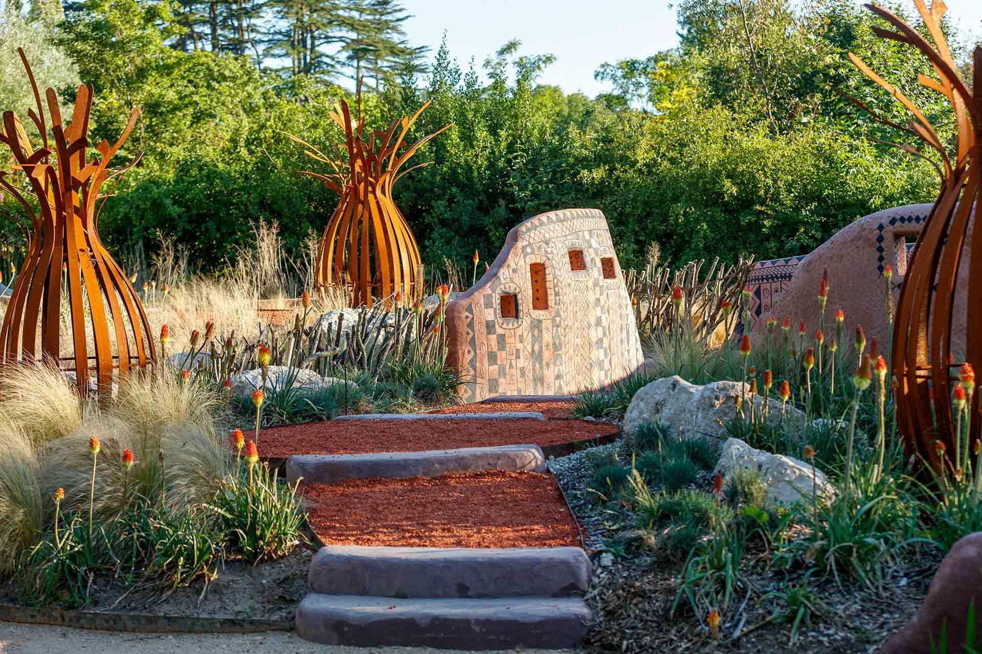 Sous le soleil africain, jardin de Leon Kluge, Festival International des Jardins 2020 © Éric Sander