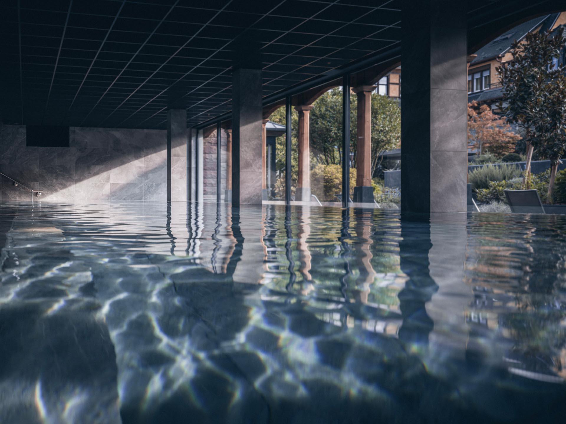 Le bassin principal du Yonaguni Spa au Parc Hôtel © Nis&For