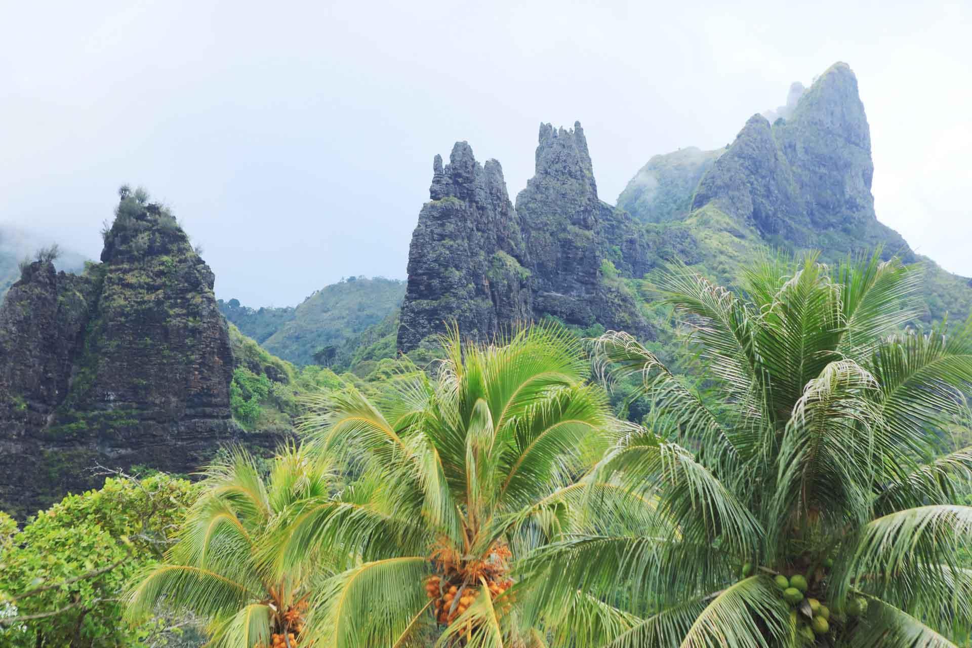 Les falaises de Nuku Hiva dressées vers le ciel © Tahiti Tourisme
