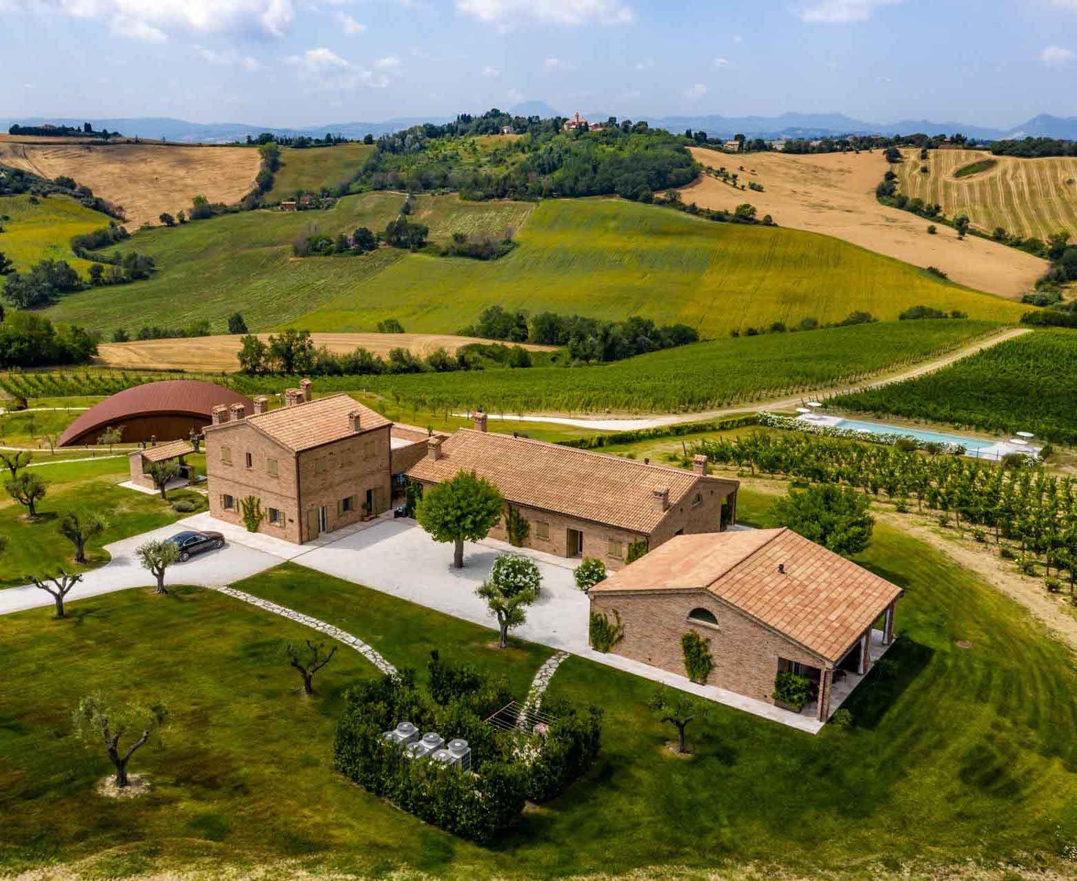 Le domaine Filodivino, son chai et sa piscine entourés de vignes © Filodivino