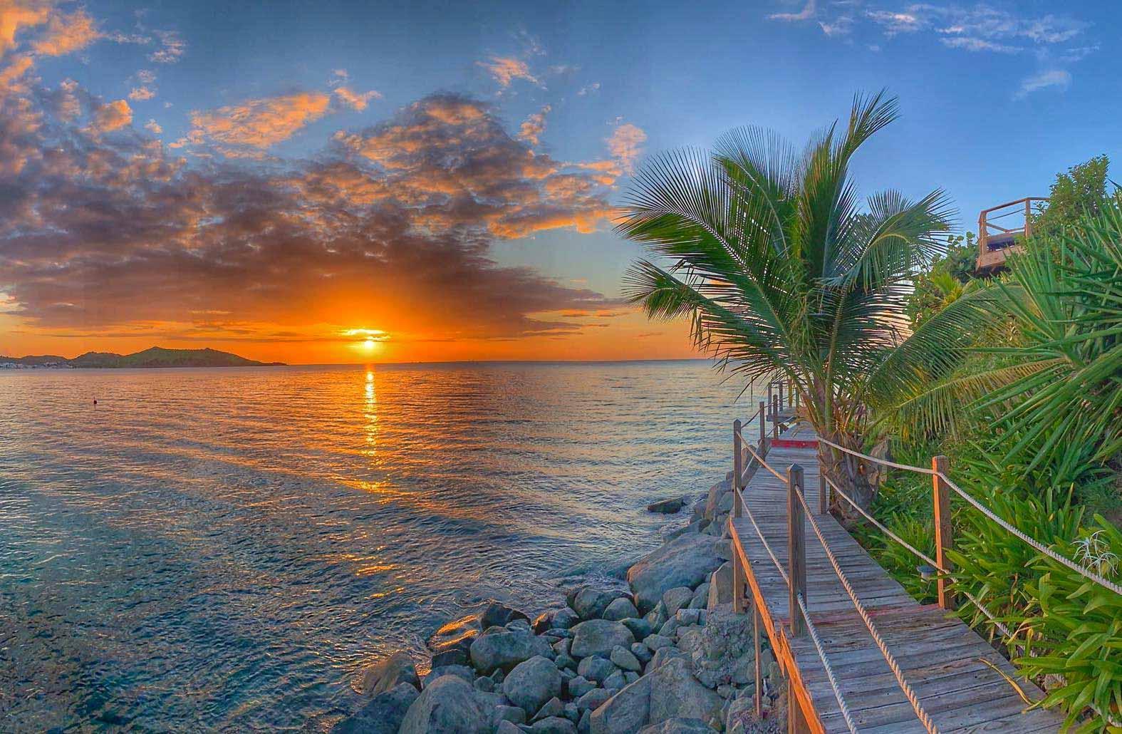 Le coucher de soleil depuis le Grand Case Beach Club © DR