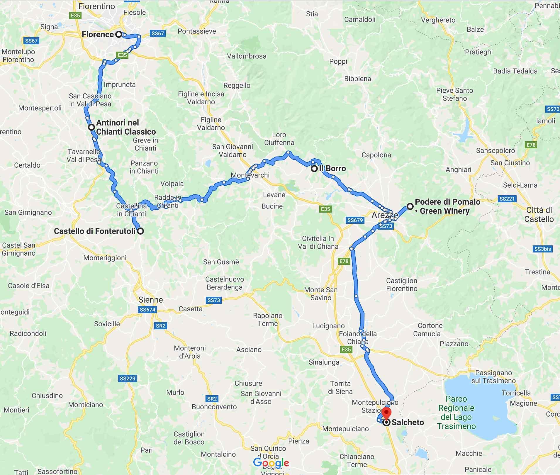 Road trip en Toscane - itinéraire © Google Maps