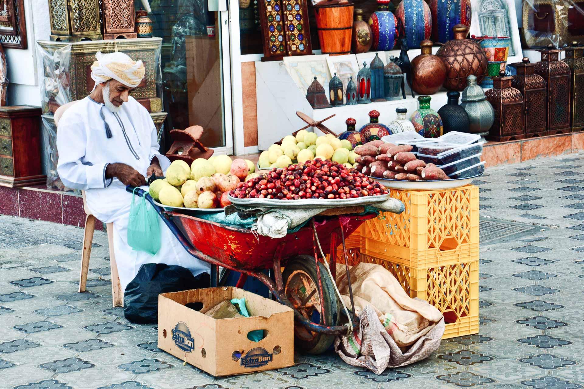 Le quartier de Mutrah de Mascate où se situent le souk, le marché aux poissons et le restaurant Bait Al Luban. © Emmanuel Laveran.