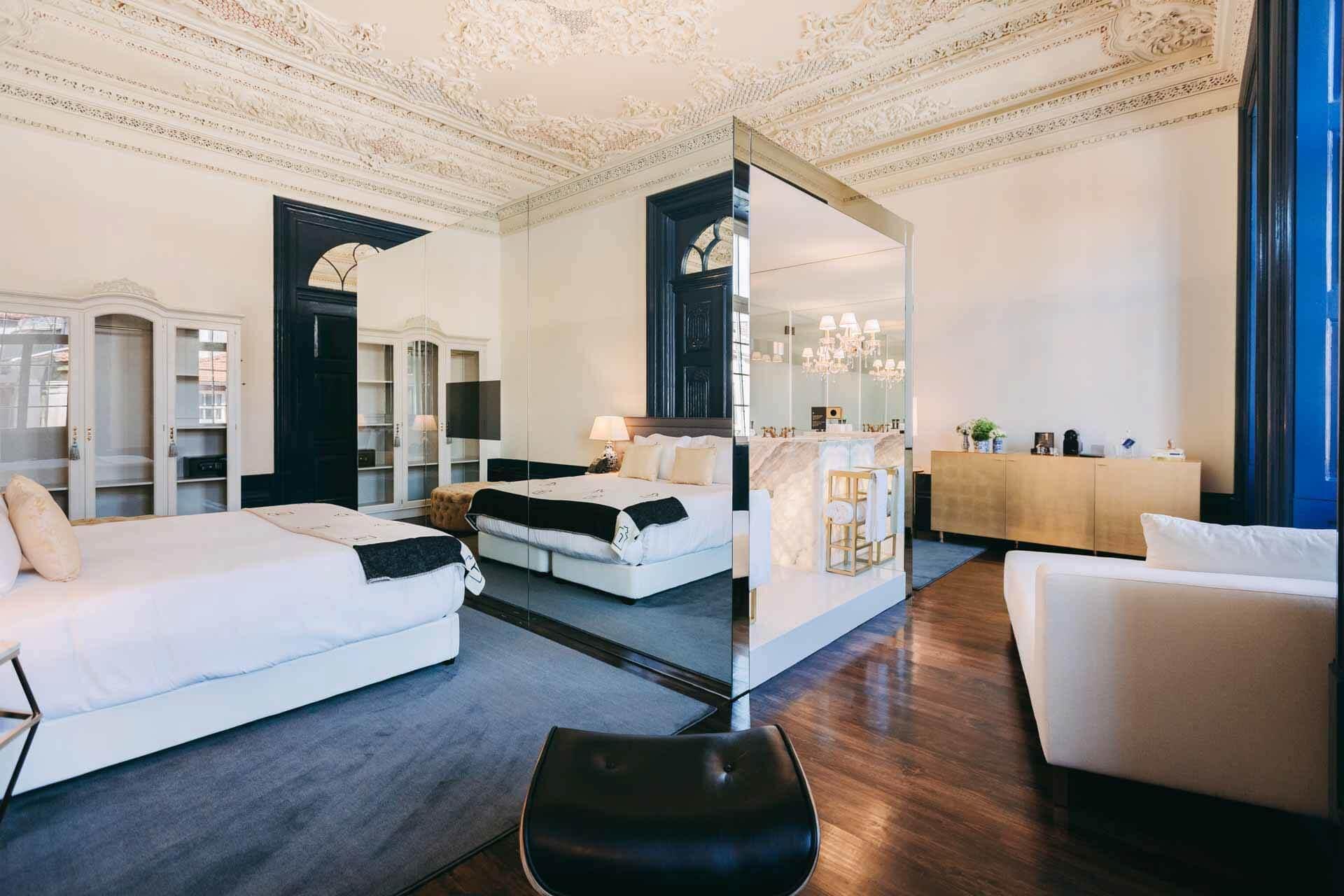 Histoire et modernité se mêlent dans les vastes chambre du Torel Palacio © Torel Palacio Porto