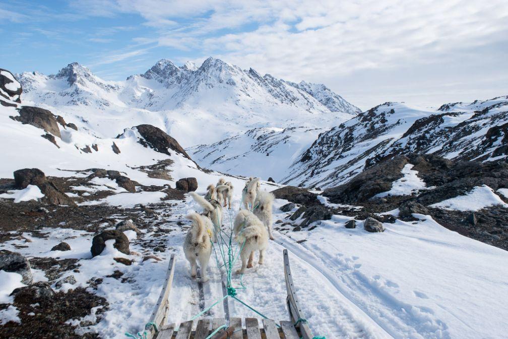 En traineau à chien sur les collines en face de Tasiilaq, de l'autre côté du fjord.