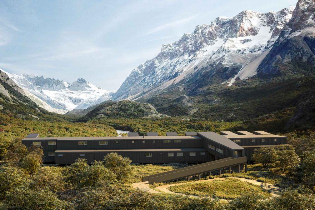 Dominant la rivière Eléctrico et le glacier Marconi, explora El Chaltén ouvrira ses portes fin 2020
