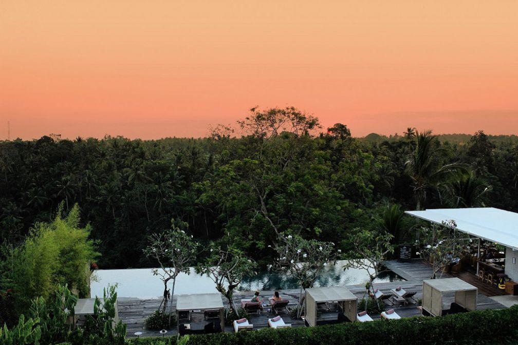 Coucher de soleil sur Bisma Eight, le boutique resort le plus cool d'Ubud à Bali @ Bisma Eight