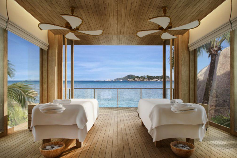 Cabine de spa avec vue au tout nouveau Six Senses Zil Pasyon sur une île privée des Seychelles © Six Senses