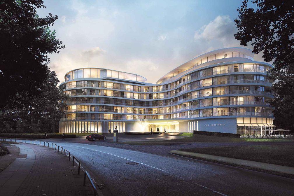 Tout en courbes et entièrement vitré, The Fontenay Hamburg révèle une architecture contemporaine séduisante sur les rives de l'Alster © The Fontenay