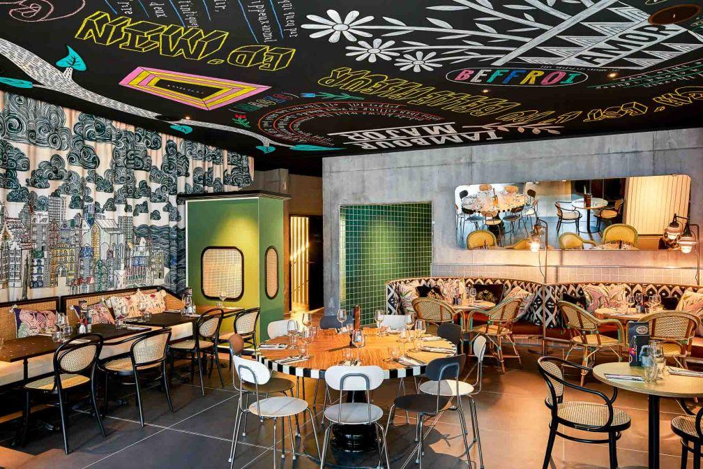 On retrouve au restaurant le design caractéristique des établissements signés Mama Shelter © DR