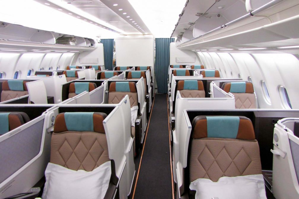 Intérieurs d'une cabine Business Class d'un appareil Oman Air nouvelle génération (A330 ou Boeing 787) © DR