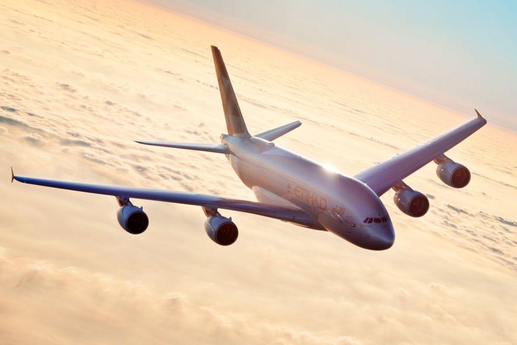 L'un des 10 A380 composant la flotte d'Etihad Airways en plein vol © Etihad