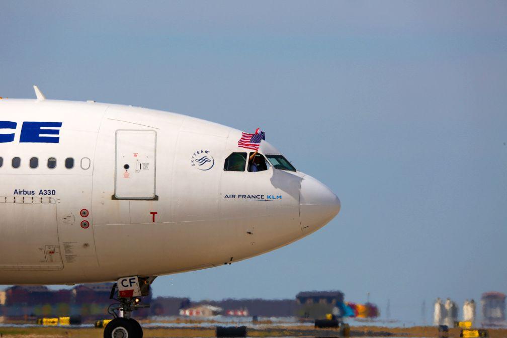 Arrivée à Dallas de l'A330 d'Air France à l'occasion du vol inaugural de la ligne © DR