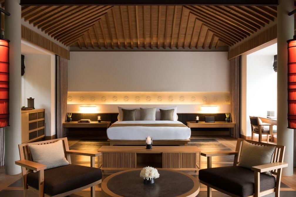 Inspirés par les habitations traditionnelles vietnamiennes, le décor des Pavillons a été imaginé par l'architecte Jean-Michel Gathy © Aman