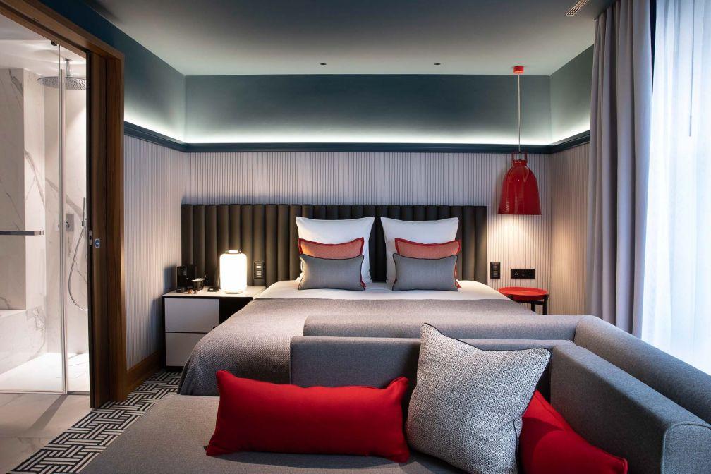 L'une des 57 chambres de l'Hôtel D à Genève, conçue par l'architecte d'intérieur Sybille de Margerie © DR