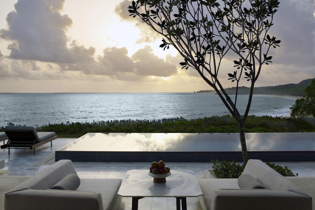 Le paradis en République Dominicaine selon Aman au futur Amanera : terrasse, piscine privée et vue panoramique sur l'Océan © Aman